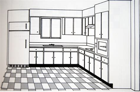 kitchen isometric view pencil and in color kitchen isometric view