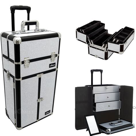 large rolling makeup case with drawers white krystal professional rolling aluminum cosmetic