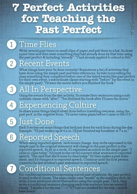 teaching tenses ideas for 7 perfect activities to teach the past perfect learn spanish learn spanish