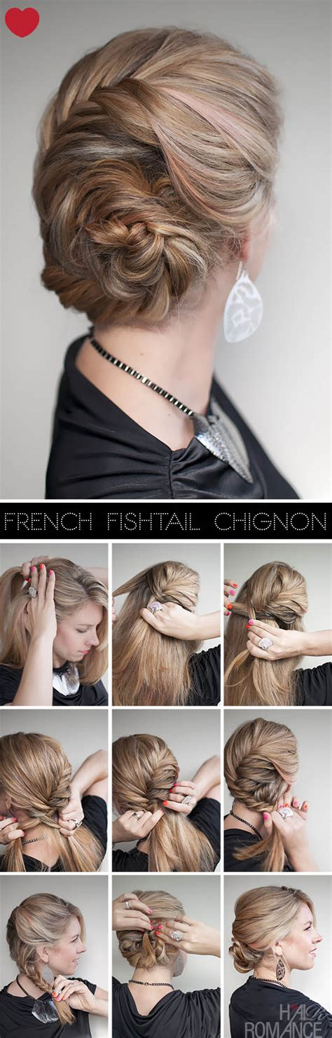 how to braid short hair step by step hairstyle tutorial french fishtail braid chignon hair