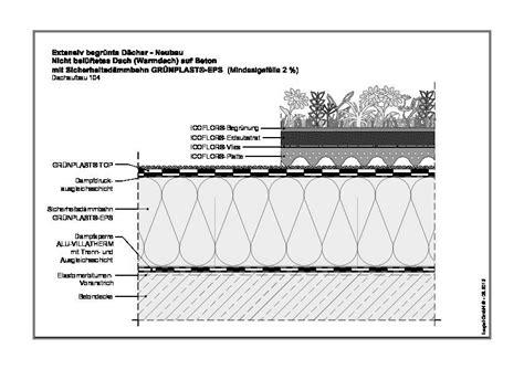 Aufbau Flachdach Betondecke by Cad Detail Systeml 246 Sungen F 252 R Begr 252 Nte Flachd 228 Cher