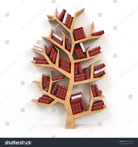 tree of knowledge bookshelf on white background 3d stock