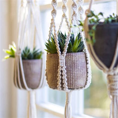 Macrame Flower Pot Hangers - macrame plant hanger plant holder hanging planter