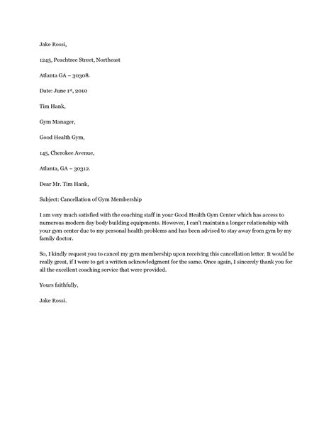 cancellation letter for fitness cancel membership letter cancel membership