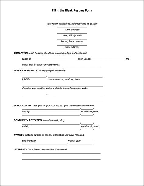 Free Printable Fill In The Blank Resume Templates by Blank Resume Template Bidproposalform