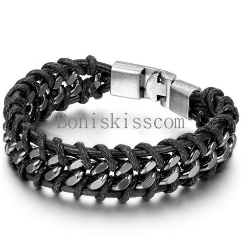 cadenas cubanas stainless steel black braided leather silver stainless steel cuban chain