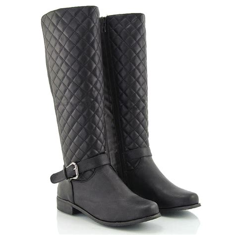 Quilted Wide Calf Boots by Womens Flat Low Heel Quilted Stretch Wide Calf