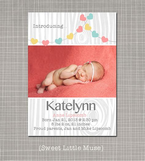 birth announcements templates for photographers girl birth announcement template for by sweetlittlemuse on