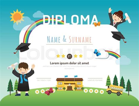 Certificate kids diploma, kindergarten template layout