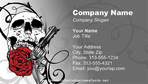 skull business card templates skull gun and business card