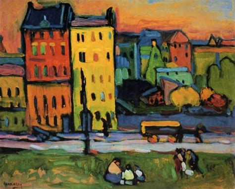 painting of houses wassily kandinsky houses in munich 1908