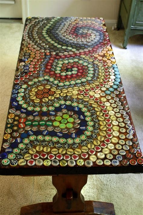 bottle cap coffee table for the home