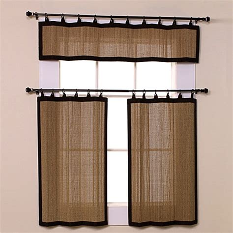 bamboo tier curtains easy glide all natural bamboo ring top window curtain