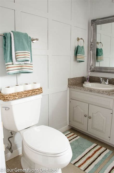 small bathroom makeovers casual cottage bathroom board and batten wainscoting tutorial gardens