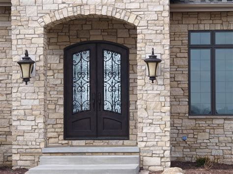 3/4 Lite Arch Top Double Door   Mediterranean   Front