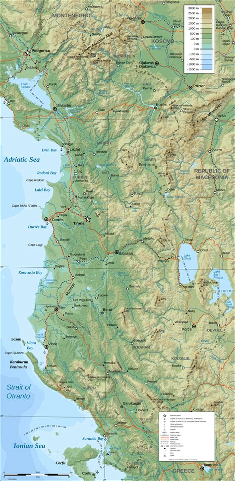 physical map large detailed physical map of albania albania large