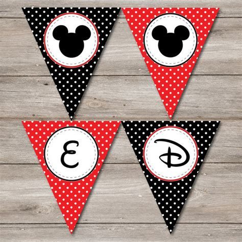 Bunting Flag Mickey Mouse mickey mouse pennant with editable text printable mickey