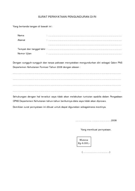 contoh surat pernyataan yang benar contoh surat pernyataan pengunduran diri