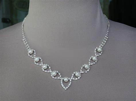 braut perlen schmuckset collier und ohrringe strass perlen silber