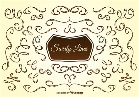 hand drawn swirly lines   vectors clipart