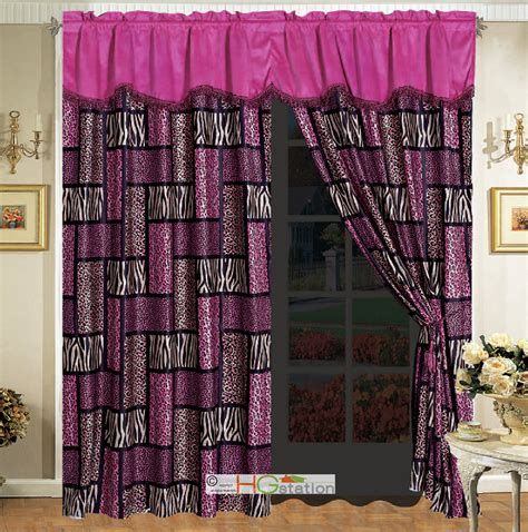 Pink Patchwork Curtains - 4 pc rectangle patchwork leopard cheetah jaguar tiger faux