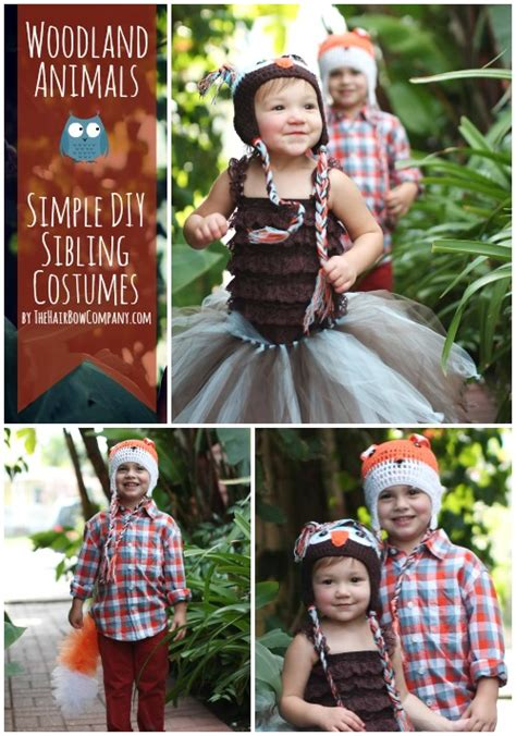 woodland animals simple sibling costumes  hair bow