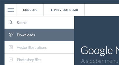 html layout side menu google nexus website menu