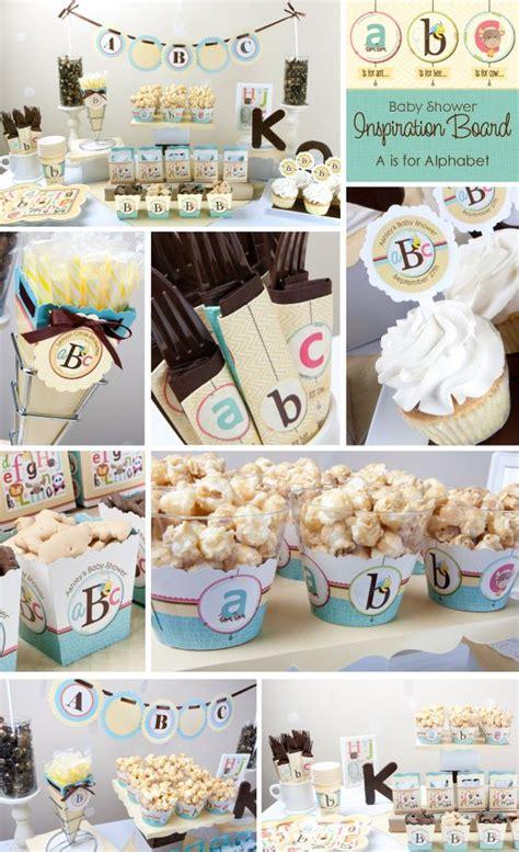 party themes like abc abc alphabet baby shower theme ideas bigdot happydot
