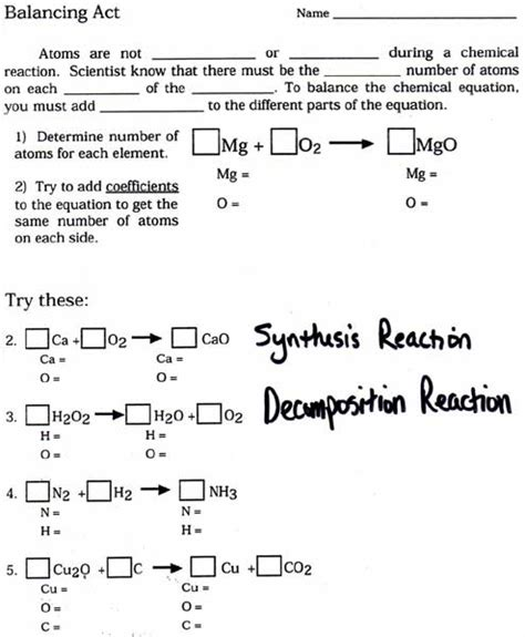 Balancing Chemical Equations Worksheet Middle School by Chemical Equations And Reactions Worksheet Pichaglobal