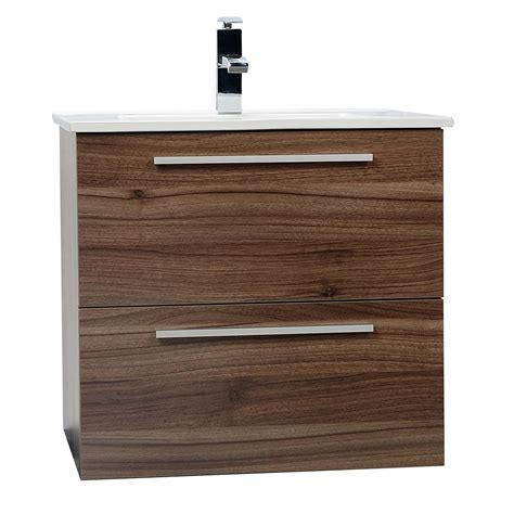 modern walnut bathroom vanity buy nola 24 wall mount modern bathroom vanity in walnut tn