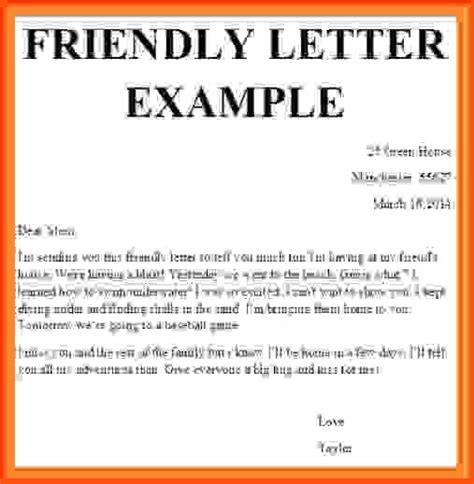 friendly cover letter letter format 187 friendly letter format exle free