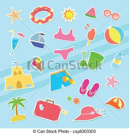 Small Vacation Home Plans Vectors Of Summer Icons Set Of Cute Summer Icons