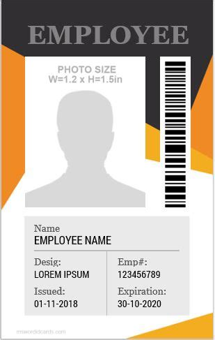 10 Amazing Employee Vertical Size ID Cards for FREE ... Office Templates Employee Information