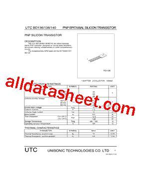 datasheet transistor bd140 bd140 datasheet pdf unisonic technologies