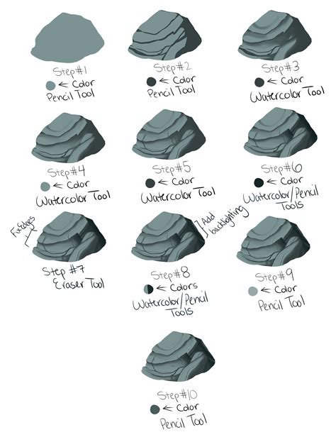 paint tool sai rock tutorial scribbly rock tutorial for sai by kohu scribbles on