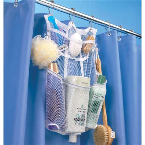 Bathroom Shower Organizer Mesh Shower Rod Organizer In Shower Caddies