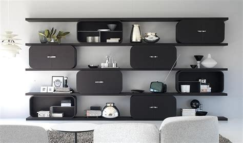 modern shelves for bedroom shelving system with curved plywood frames and digital