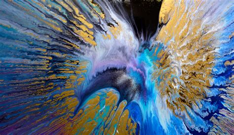 Interior Paints For Home round canvas painting in blue gold and black spin art