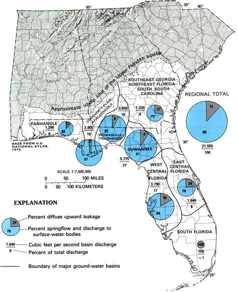 florida aquifer map estimated predevelopment discharge of the floridan