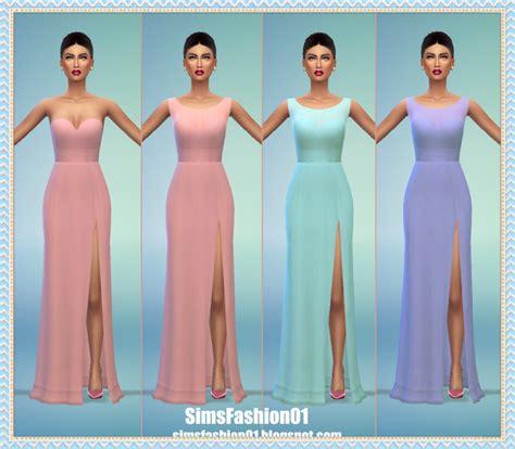 Longdress Cc my sims 4 dress with slit by simsfashion01