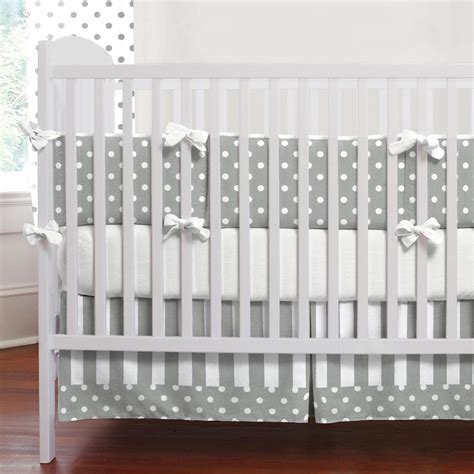 Gray And White Dots And Stripes 3 Piece Crib Bedding Set White Baby Bedding Crib Sets