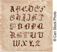 lettere alfabeto stile gotico gotico lettere iniziali e d lettere c b l clip