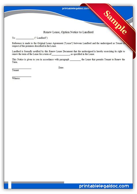 Lease Renewal Option Letter Free Printable Renew Lease Option Notice To Landlord Form