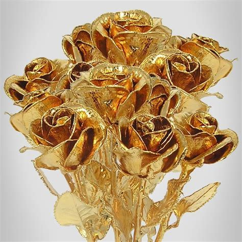 "8"" 24k Gold Plated Rose Bouquet: 12 Roses: Love Is A Rose"