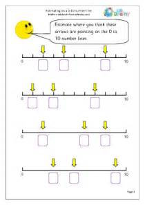 estimate on a 0 10 number line counting maths worksheets