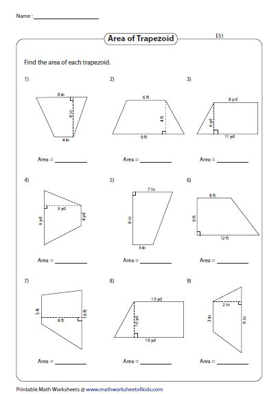 free printable area of trapezoid worksheets area of trapezoid worksheet 100 images area of