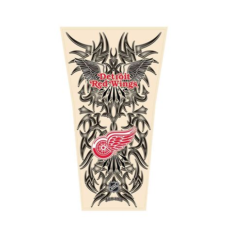red wing tattoo nhl tribal sleeve s one size detroit