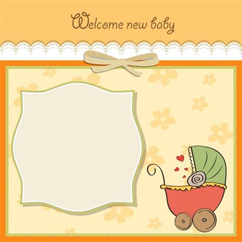 baby announcement card template vector free