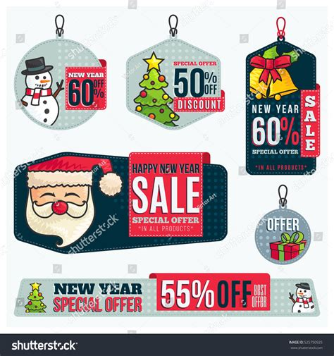 new year promotion banner merry sales tag vector illustration stock vector