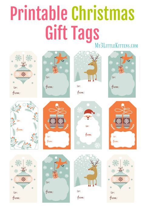 free printable christmas cat gift tags printable christmas gift tags my 3 little kittens